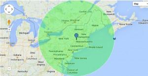 Map - 425 Mile Radius of Williamstown